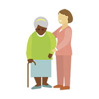 A carer with an elderly woman