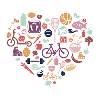 A collection of lifestyle images in a heart shape