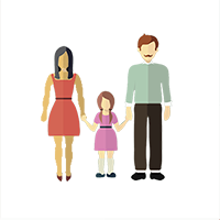 Two parents and a child