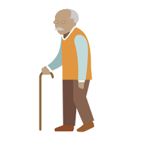 An elderly man with a walking stick